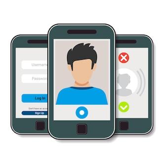 Набор из трех мобильных телефонов. мобильный телефон с видеозвонком, авторизацией и входящим звонком. векторная иллюстрация