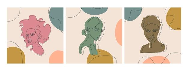 3つの現代の抽象的な顔のセット。現代の女性のシルエット。抽象的なカラースポットのある実線。