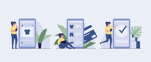 3 온라인 쇼핑 단계 그림 세트