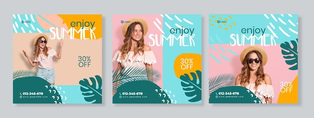 Набор из трех органических баннеров летнего продвижения шаблона социальных сетей