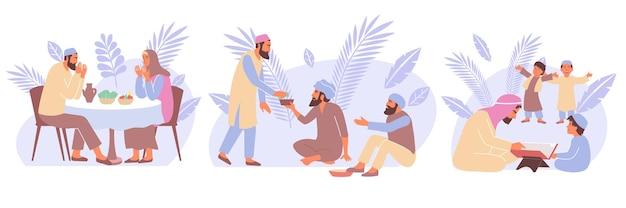 월간 활동 일러스트레이션 동안 이국적인 잎과 이슬람의 인간 캐릭터가 있는 3개의 라마단 구성 세트