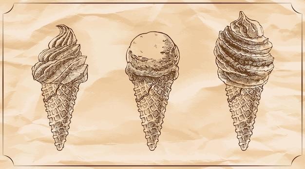 Набор из трех ретро вкусных конусов мороженого.