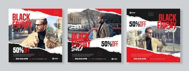 검은 금요일 판매 소셜 미디어 팩 템플릿의 세 찢어진 종이 배너 세트