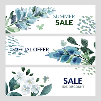 Набор из трех летних баннеров с синими акварельными цветами