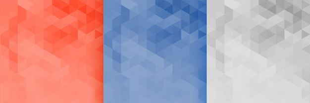 3 개의 삼각형 패턴 배경 세트