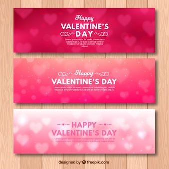 Set of three valentine bokeh banners