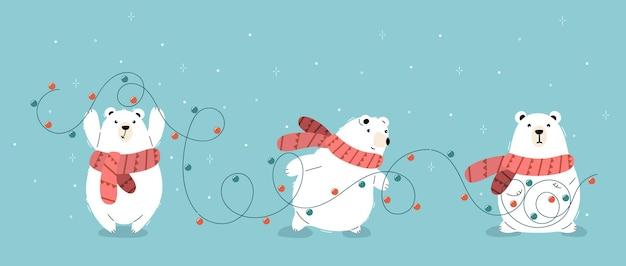 크리스마스 화환을 들고 주황색 스카프를 두른 벡터 북극곰 3마리