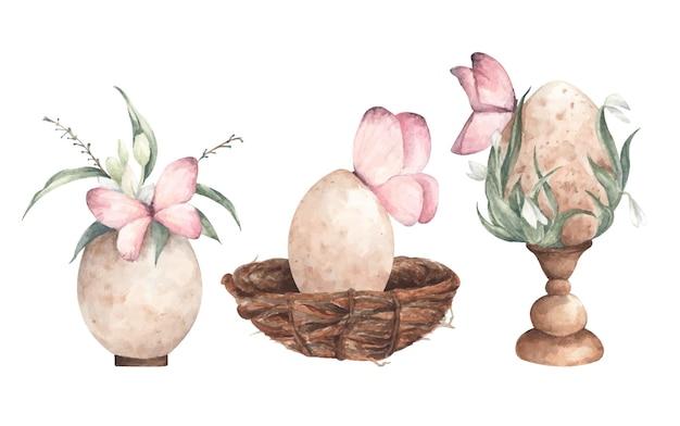 蝶と3つのヴィンテージの卵のセットです。水彩イラスト。