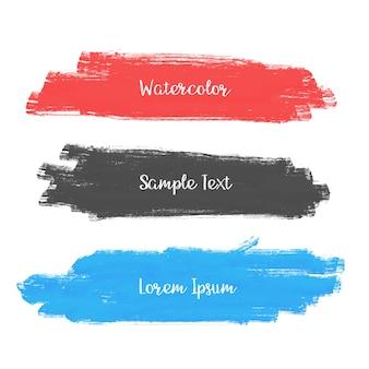 Set of three watercolor stroke banner design