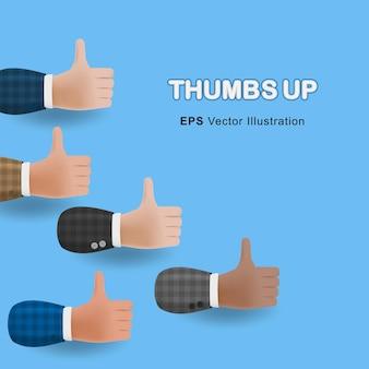 親指のセットは、青い背景で隔離の3d漫画イラストの手を上げます。ベクトルデザイン