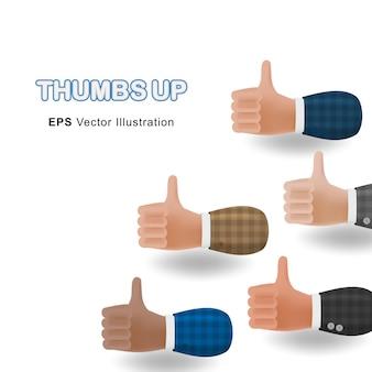 親指のセットは、白い背景で隔離の3d漫画イラストの手を上げます。ベクトルデザイン