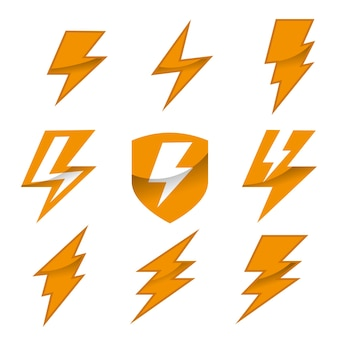 雷ロゴベクトルのセット
