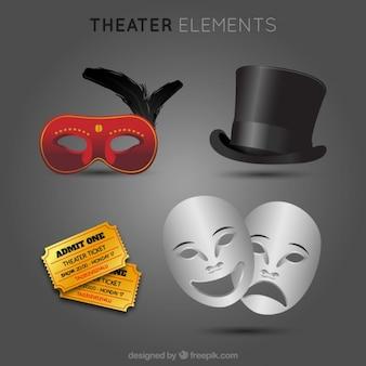 티켓과 우아한 극장 요소 집합