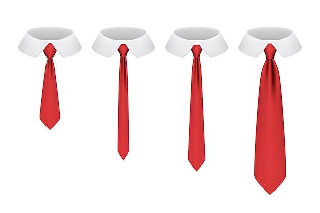 白で隔離されたネクタイのセット