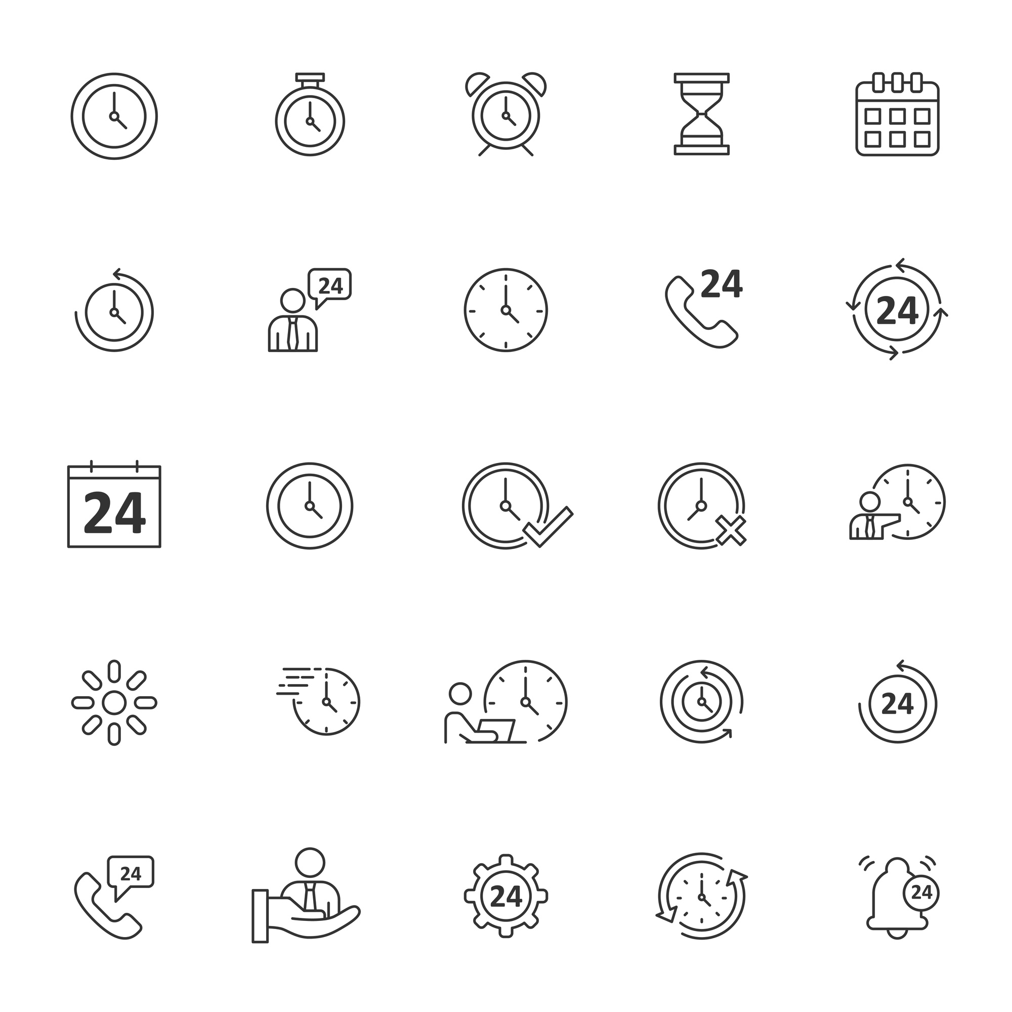 Set of time icons with simple outline