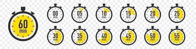 Набор иконок часов таймера. коллекция таймера секундомера