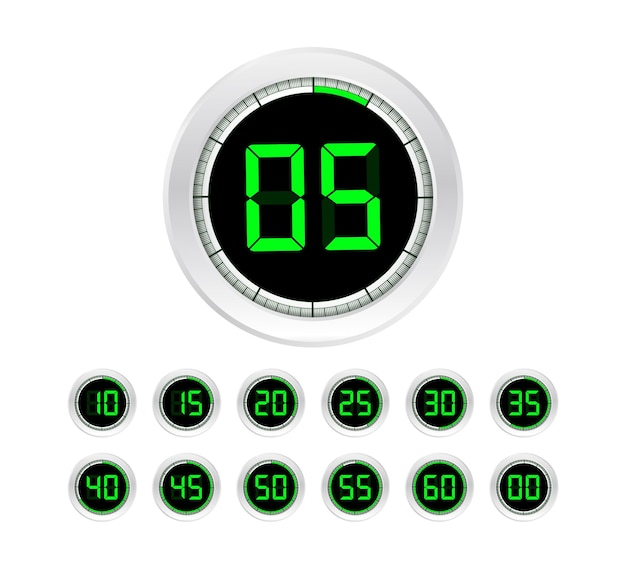 タイマーのセット。サインアイコン。全回転矢印タイマー。色付きのフラットアイコン。 12個のタイマーアイコンのセット。フラットデザインベクトルストックイラスト。ベクトルイラスト