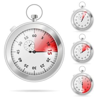 Набор таймеров с различными индикациями времени, векторные иллюстрации