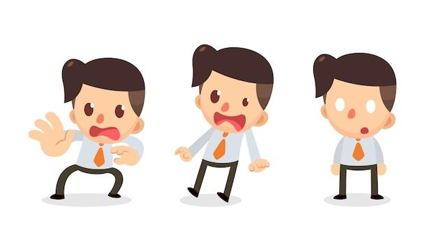 Набор крошечного бизнесмена персонажа в действиях. в шоке.