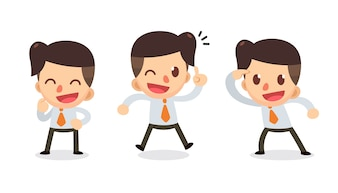 Set of Tiny businessman character in actions