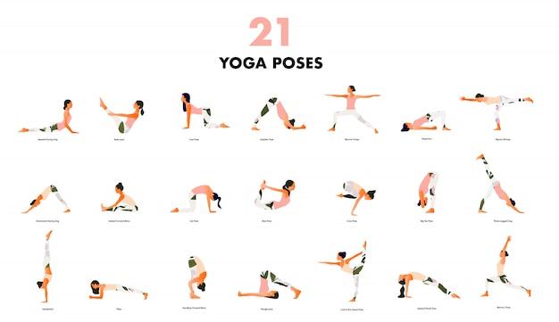 Набор крошечных женщин, выполняющих позы йоги. женщины практикуют асаны и упражнения для мышц тазового дна. плоский мультфильм на белом фоне.