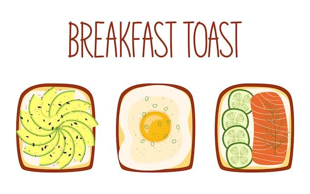 Набор тостов на завтрак с разными начинками. тосты с авокадо, яйцом, лососем и огурцом. векторная иллюстрация