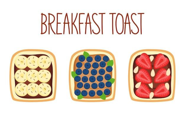 Набор тостов на завтрак с разными начинками. тосты с бананом, черникой, клубникой и миндалем. векторная иллюстрация