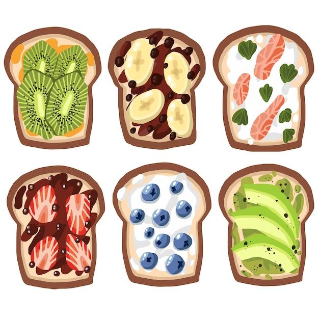 Набор тостов на изолированном белом фоне здоровые органические продукты питания завтрак обед ужин