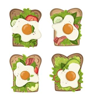 Набор тостов с яйцом и овощами