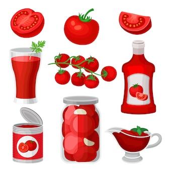 トマトの食べ物や飲み物のセット。健康ジュース、ケチャップ、ソース、缶詰。自然でおいしい製品