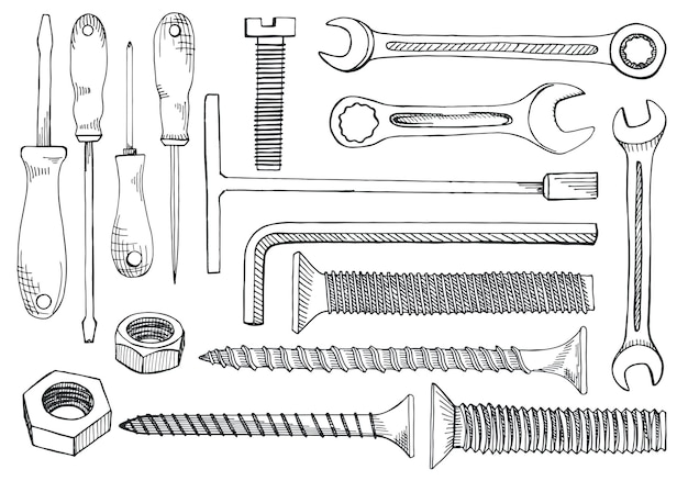 Набор инструментов и крепежа. отвертка, гаечный ключ, гаечный ключ, шестигранный ключ, винт, заглушка, дюбель для гвоздей, гайка. рисованной иллюстрации в стиле эскиза.