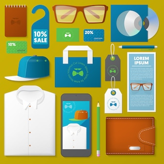 Набор инструментов для бренда, изолированные на зеленом