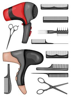 髪をカットしてスタイリングするためのツールのセット。漫画のスタイル。図。