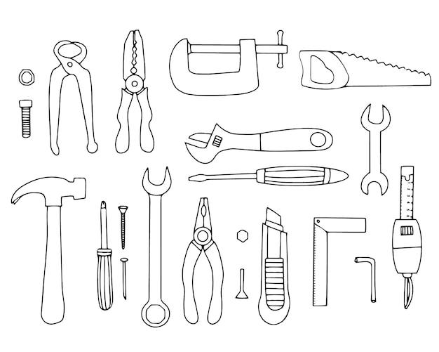 수리 및 건설을 위한 도구 세트입니다. 디자인을 위한 벡터 요소입니다. 선형 손 그리기.
