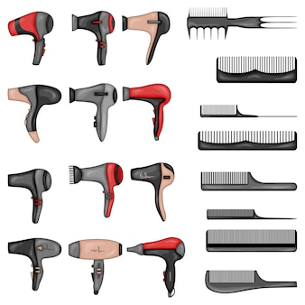 Набор инструментов для укладки волос иллюстрации