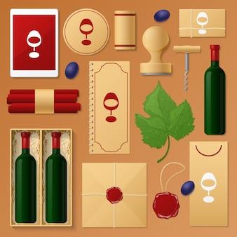ベージュで分離されたワインショップのツールのセット