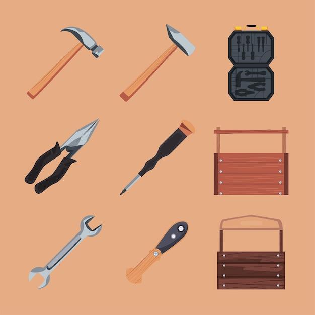 나무 도구 상자가 있는 도구 세트