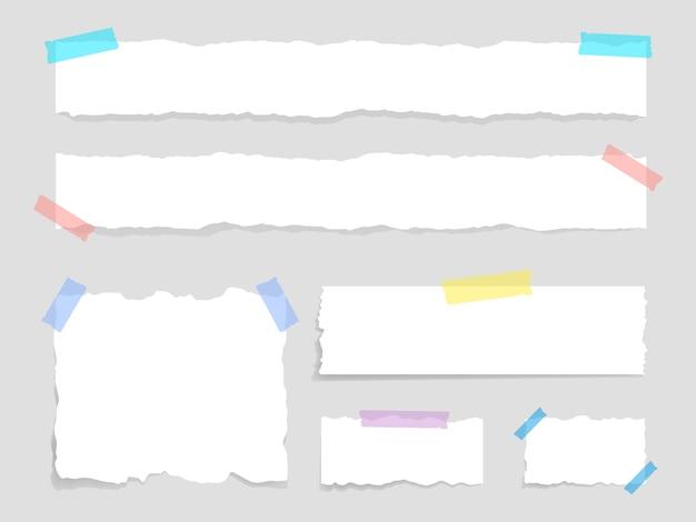 덕트 테이프가 부착 된 찢어진 용지 세트. 종이 낭비. 찢어진 종이, 찢어진 시트 및 메모 용지.
