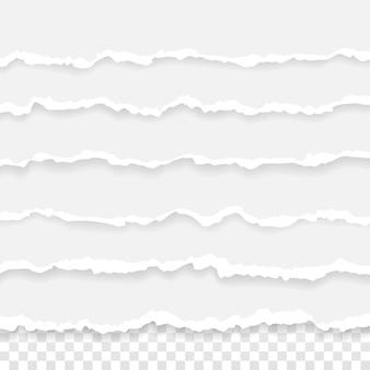 찢어진 된 종이 줄무늬의 집합입니다. 투명 한 배경에 고립 된 손상 된 가장자리와 종이 텍스처.