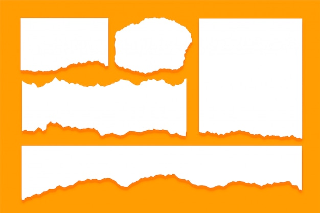 Набор разорванных листов бумаги текстуры