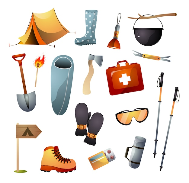 Набор туристического снаряжения или инструментов для пеших прогулок, скалолазания и свободной прогулки. мультяшный стиль.