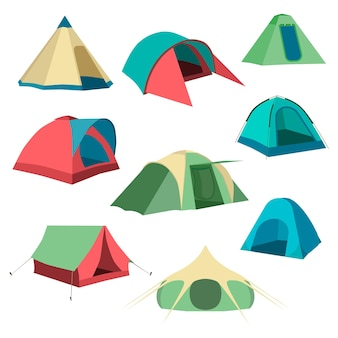 観光テントのセットコレクションキャンプテントアイコン