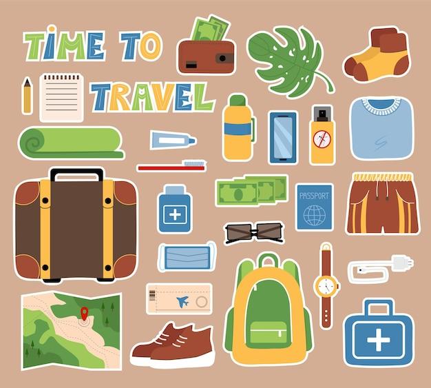 일기 여행 항목 벡터 개체를 유지하기 위한 관광 물건 스티커 세트