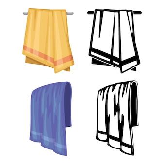 タオルのセット-白で隔離の漫画スタイルとアウトラインタオル