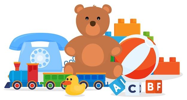 おもちゃのセット。こどものゲーム。ぬいぐるみ、車、人形。
