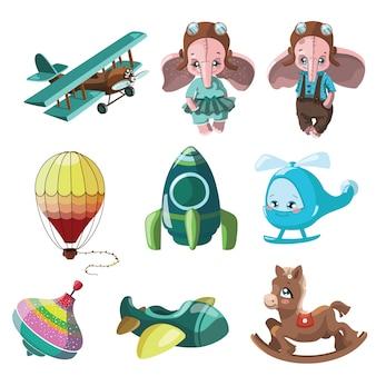 Набор игрушек для детей. иллюстрации для детей. игрушечная машинка. мультяшный рисунок.