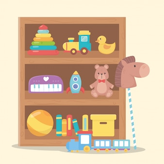 Набор игрушек для малышей на полках