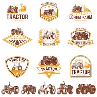 トラクターのエンブレムのセット。ファーマーズマーケット。ロゴ、ラベル、サインの要素。図