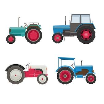 Комплект тракторов. сельскохозяйственный транспорт на белом фоне. иллюстрация
