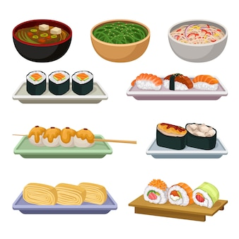 伝統的な日本食のセットです。スープ、木のおにぎり、さまざまな種類の寿司。美味しいアジア料理。